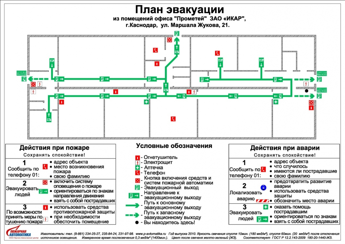 Планы эвакуации при пожаре и других чрезвычайных ситуациях.